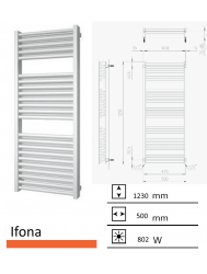 Badkamerradiator Ifona 1230 x 500 mm Mat wit
