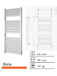 Badkamerradiator Ifona 1230 x 600 mm Zwart grafiet (Black graphite)