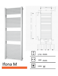 Badkamerradiator Ifona M 1770 x 600 mm Zwart grafiet (Black graphite)