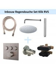 Inbouw Regendouche Set 3-Wegs Klik RVS (Muuruitloop)
