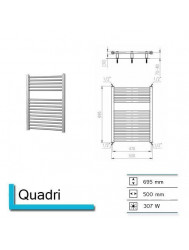 Handdoekradiator Quadri 695 x 500 mm Wit