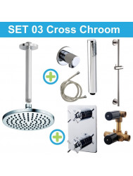 Wiesbaden inbouw regendouche set 03 Cross Chroom