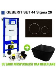 Geberit UP320 Toiletset set44 Civita Black Rimless Met Sigma 20 Matzwarte Drukplaat
