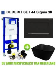 Geberit UP320 Toiletset set44 Civita Black Rimless Met Sigma 30 Matzwarte Drukplaat