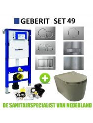 Geberit UP320 Toiletset set49 Civita Rimless Mat Legergroen Sigma Drukplaat