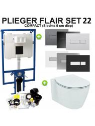 Plieger Flair Compact Toiletset set22 Ideal Standard Connect Aquablade met Plieger Flair drukplaat