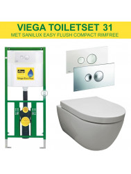 Viega EcoPlus toiletset 31 Sanilux Easy Flush Rimfree 48cm compact met Visign for Style 10 drukplaat