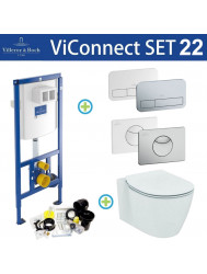 Villeroy & Boch ViConnect Toiletset set22 Ideal Standard Connect Aquablade met ViConnect drukplaat
