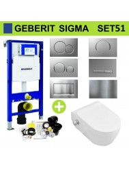 Geberit UP320 Toiletset Set51 Wandcloset Sanilux Easy Flush Slim met Bidet Sigma Drukplaat