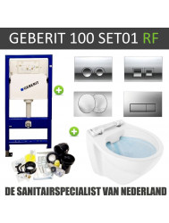 Geberit UP100 Rimfree Toiletset set01 Boss & Wessing Design met Delta drukplaat