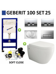 Geberit UP100 Toiletset set25 Creavit Bocchi Jet Flush Rimfree met Delta drukplaat