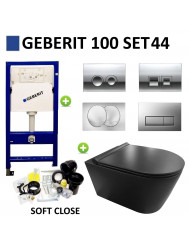 Geberit UP100 Toiletset set44 Civita Black Rimfree Mat Zwart Met Delta drukplaat