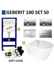 Geberit UP100 Toiletset Set50 BWS Plana Randloos Glans Wit Met Delta drukplaat