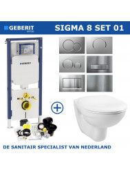 Geberit Sigma 8 (UP720) Toiletset set01 Basic Smart Met Sigma Drukplaat