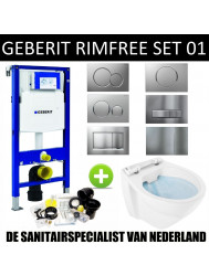 Geberit UP320 Toiletset set01 Boss & Wessing Design Rimfree met Sigma drukplaat
