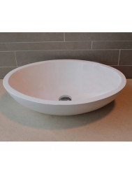 Waskom Luca Sanitair Ovaal 57x40x14cm Solid Surface 25mm Dik Mat Wit