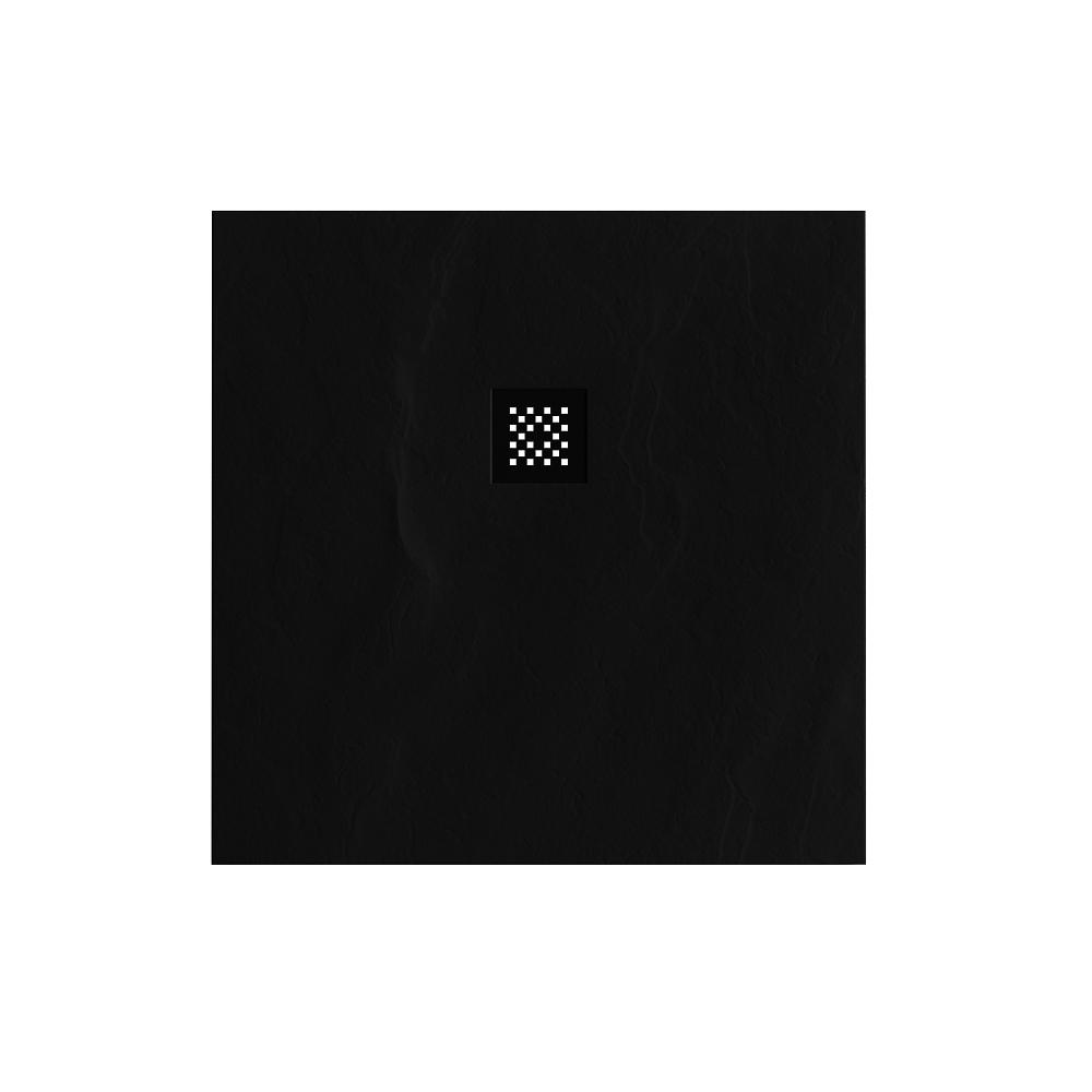 Productafbeelding van Douchebak Sanitop Just Creating Relievo Crag 90x90 cm Mat Zwart