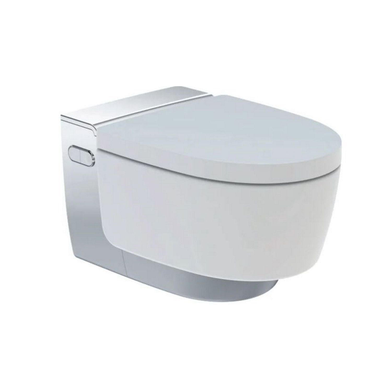 Douche WC Geberit AquaClean Mera Classic met Geurafzuiging Warme Luchtdroging en Ladydouche met Softclose en Deksel Glanschroom