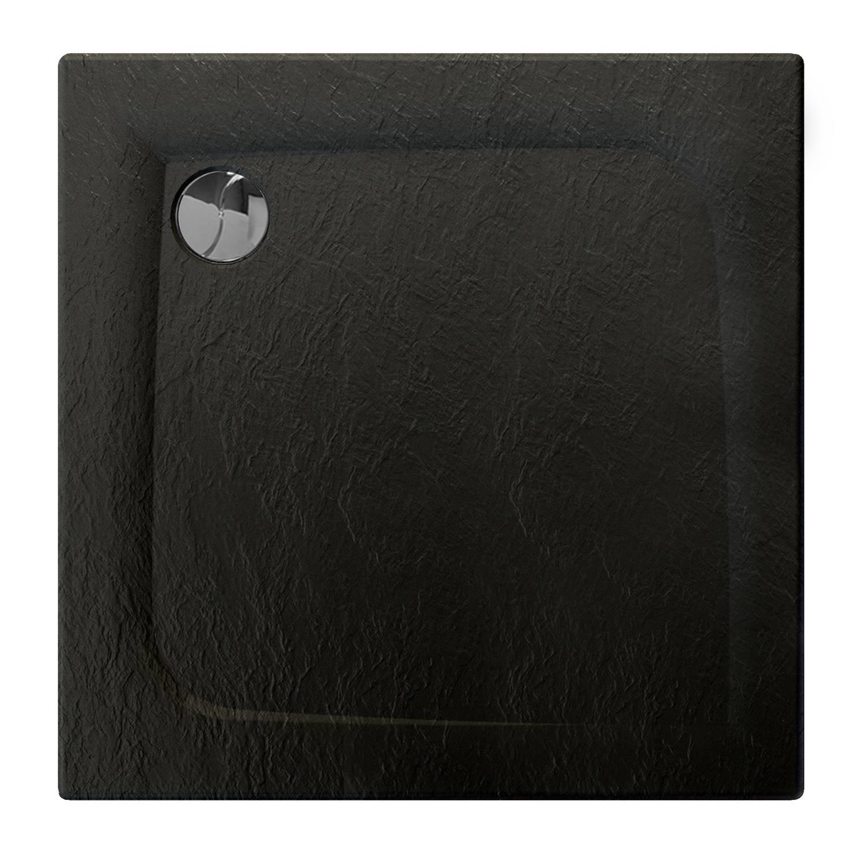 Douchebak Allibert Mooneo Vierkant Inbouw Bioplax 80x80 cm Zwart