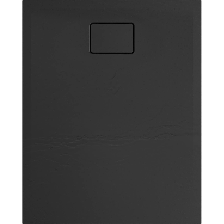 Douchebak Allibert Terreno Rechthoek Inbouw Polybeton 100x80 cm Bazalt Zwart
