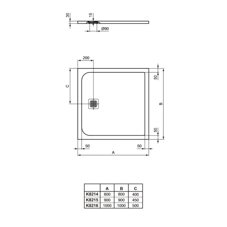 Uitzonderlijk Douchebak Ideal Standard Ultra Flat Solid Vierkant (in 3 ZA37