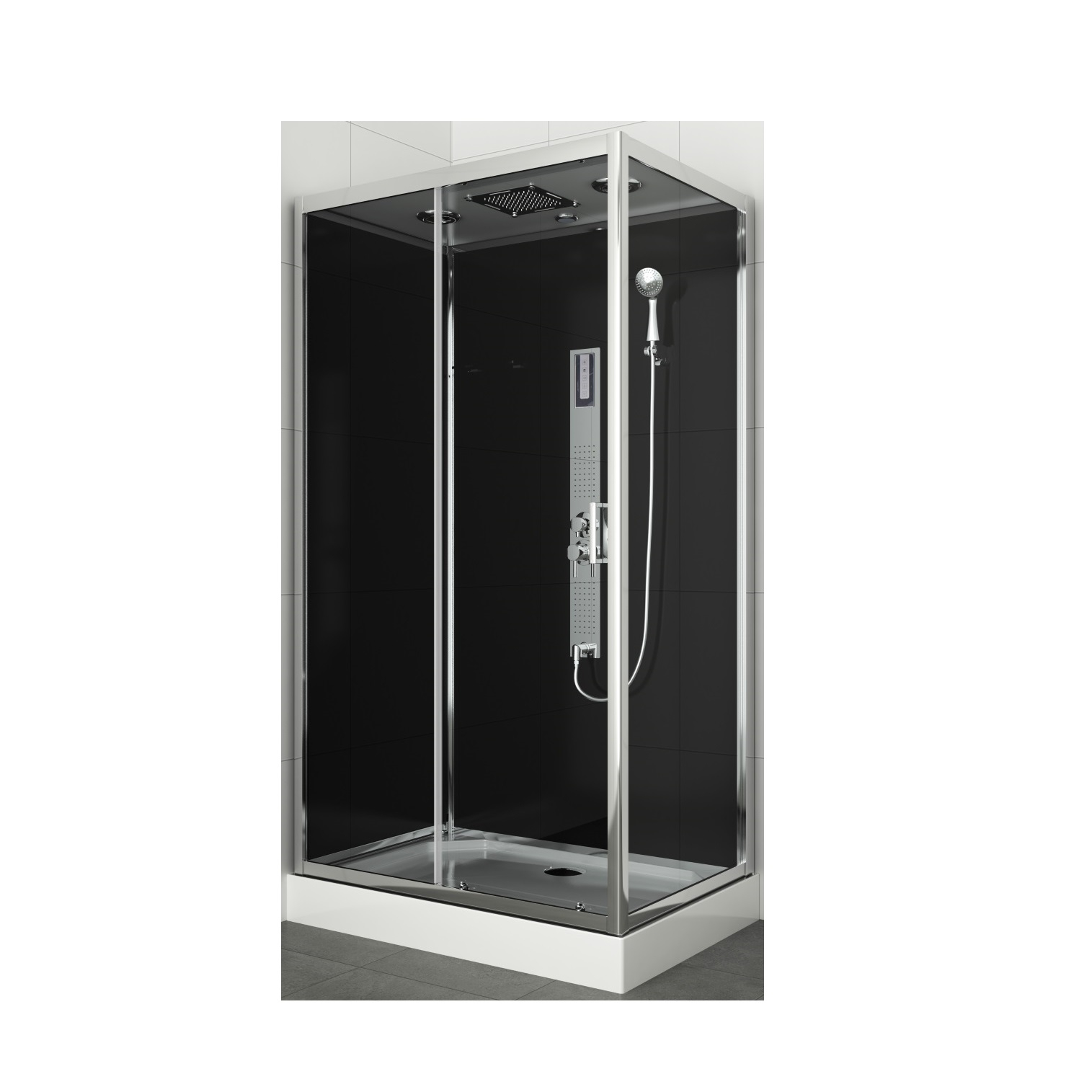 Douchecabine Allibert Gipsy 225x80x120 cm Rechthoek Frontale Instap Schuifdeur 4mm Helder Glas