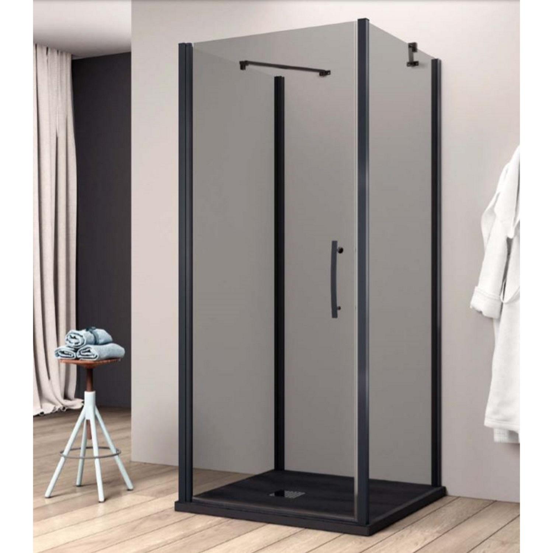Productafbeelding van Douchecabine Lacus Giglio Black Eéndelige Deur 90x190 cm 6mm Rookglas Mat Zwart Profiel (2 zijwanden)