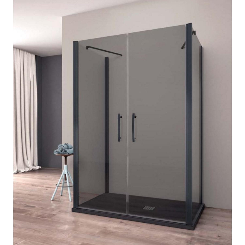 Productafbeelding van Douchecabine Lacus Giglio Black 85x190 cm Mat Zwart Profiel 6mm Rookglas (2 zijwanden)