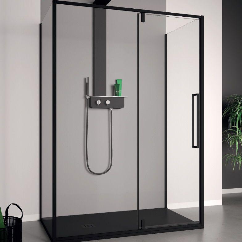 Productafbeelding van Douchecabine Lacus Murano 110 cm Helder Glas Met Klapdeur Aluminium Profiel Zwart (2 Zijwanden)