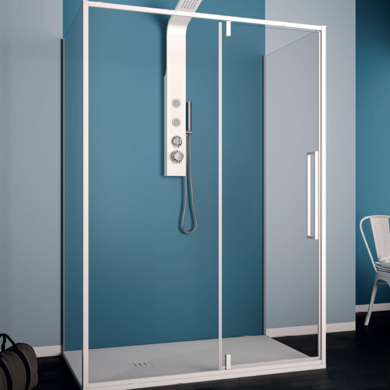 Productafbeelding van Douchecabine Lacus Murano 90 cm Helder Glas Met Klapdeur Aluminium Profiel Wit (2 Zijwanden)