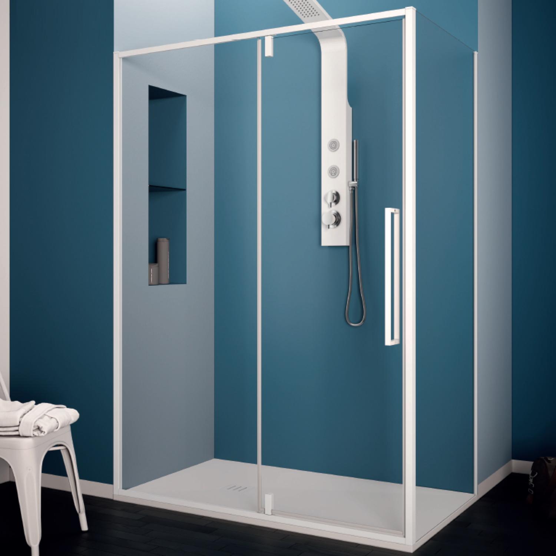 Productafbeelding van Douchecabine Lacus Murano Klapdeur 90x200 cm 6 mm Met Zijwand Helder Glas Wit