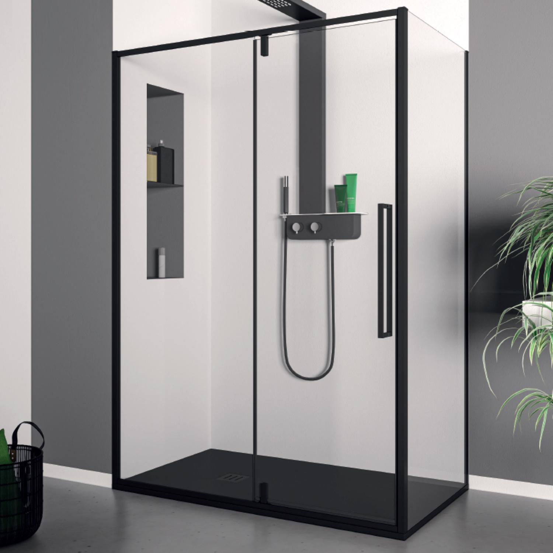 Productafbeelding van Douchecabine Lacus Murano Klapdeur 90x200 cm 6 mm Met Zijwand Helder Glas Zwart