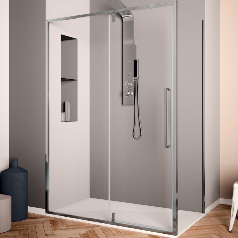 Productafbeelding van Douchecabine Lacus Murano Klapdeur 90x200 cm 6 mm Met Zijwand Helder Glas Chroom