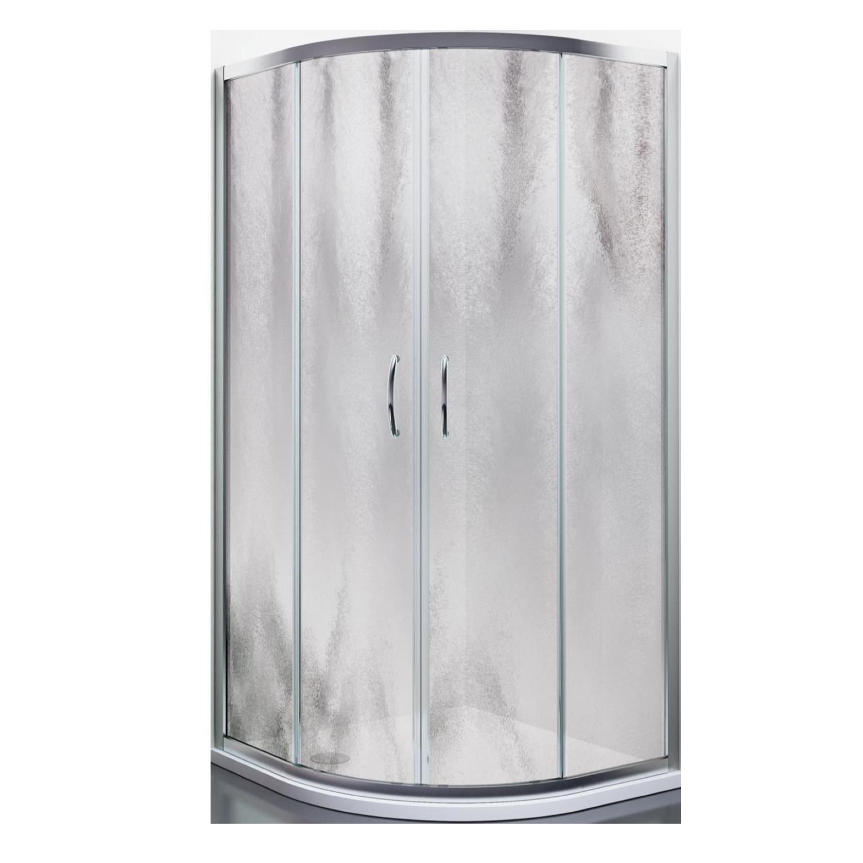 Productafbeelding van Douchecabine Lacus Panarea Kwartrond Chinchilla Glas Aluminium Profiel Chroom (alle maten)