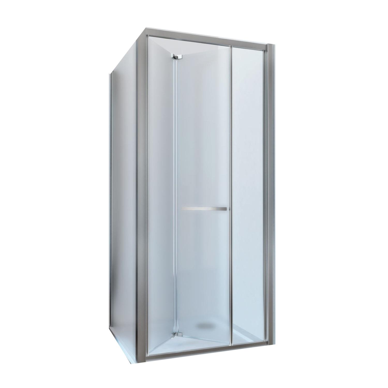 Douchecabine Lacus Ponza met Vouwdeur en Zijwand Mat Glas Aluminium Profiel Chroom (alle maten)