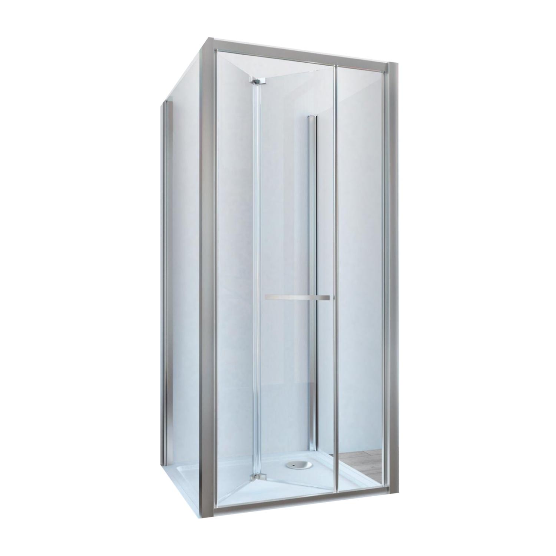 Douchecabine Lacus Ponza met Vouwdeur en Zijwanden Helder Glas Aluminium Profiel Chroom (alle maten)