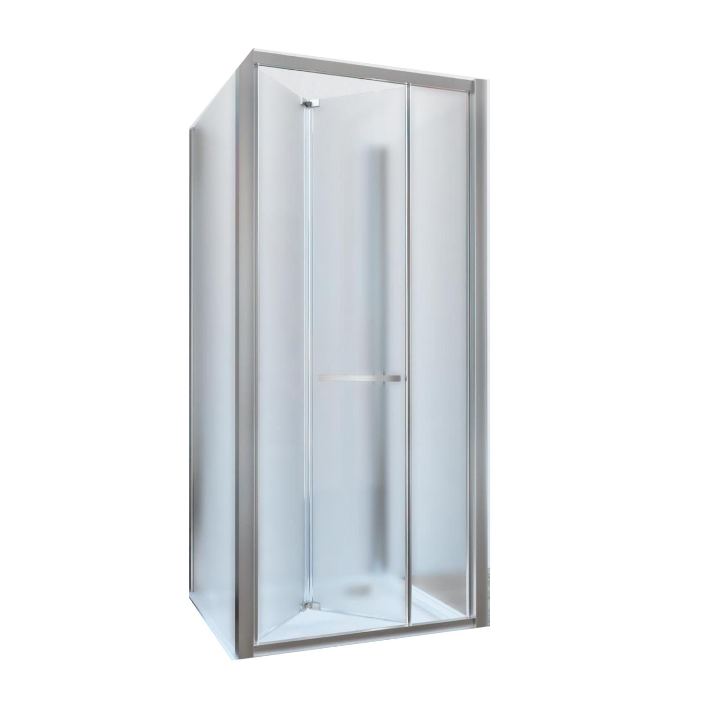 Douchecabine Lacus Ponza met Vouwdeur en Zijwanden Mat Glas Aluminium Profiel Chroom (alle maten)