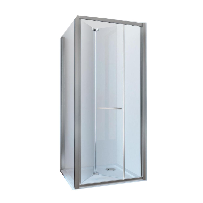 Douchecabine Lacus Ponza met Vouwdeur en Zijwand Helder Glas Aluminium Profiel Chroom (alle maten)