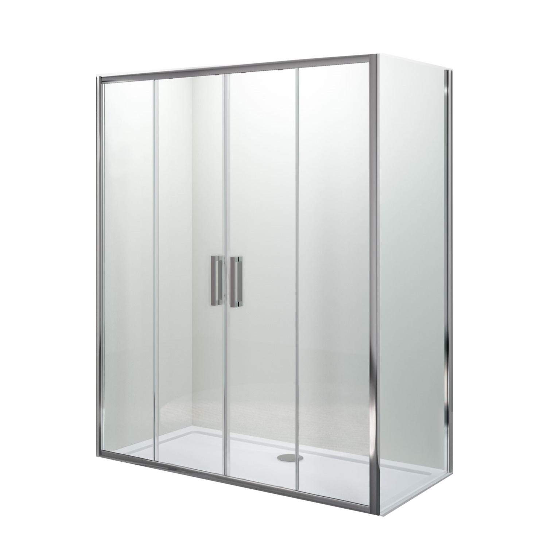 Douchecabine Lacus Stromboli met Schuifdeur en Zijwand Helder Glas Aluminium Profiel Chroom (alle maten)