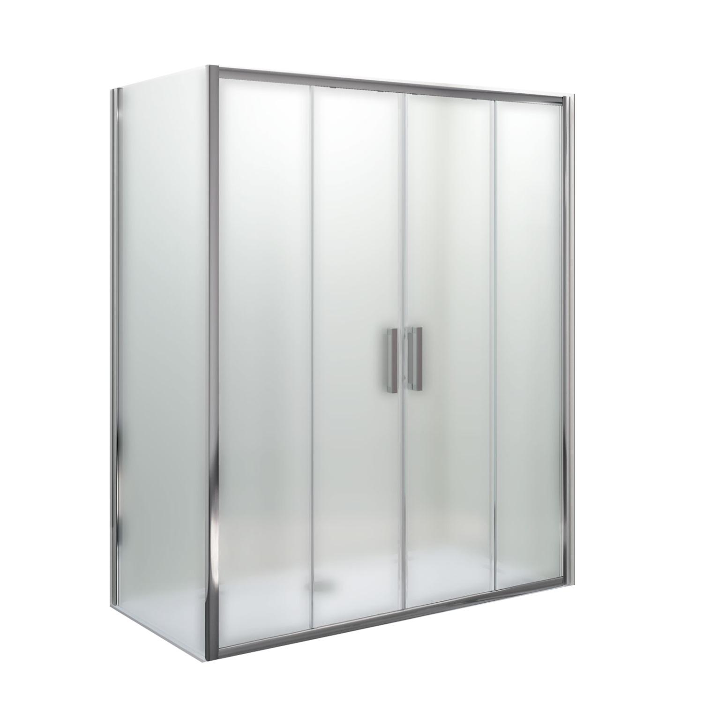 Douchecabine Lacus Stromboli met Schuifdeur en Zijwand Mat Glas Aluminium Profiel Chroom (alle maten)