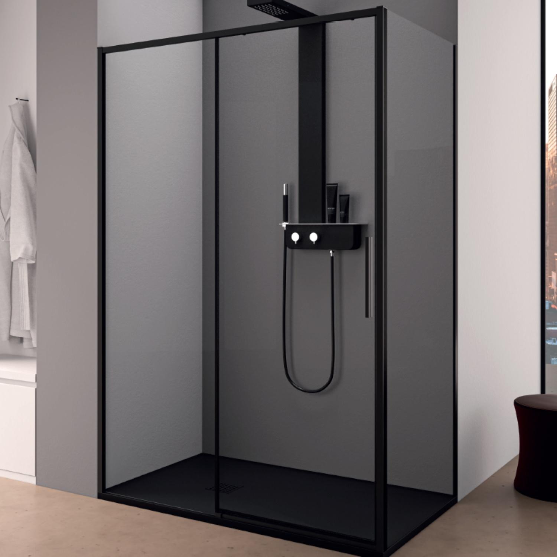 Productafbeelding van Douchecabine Lacus Torcello Schuifdeur met Zijwand 100x200 cm 6 mm Helder Glas Zwart Profiel