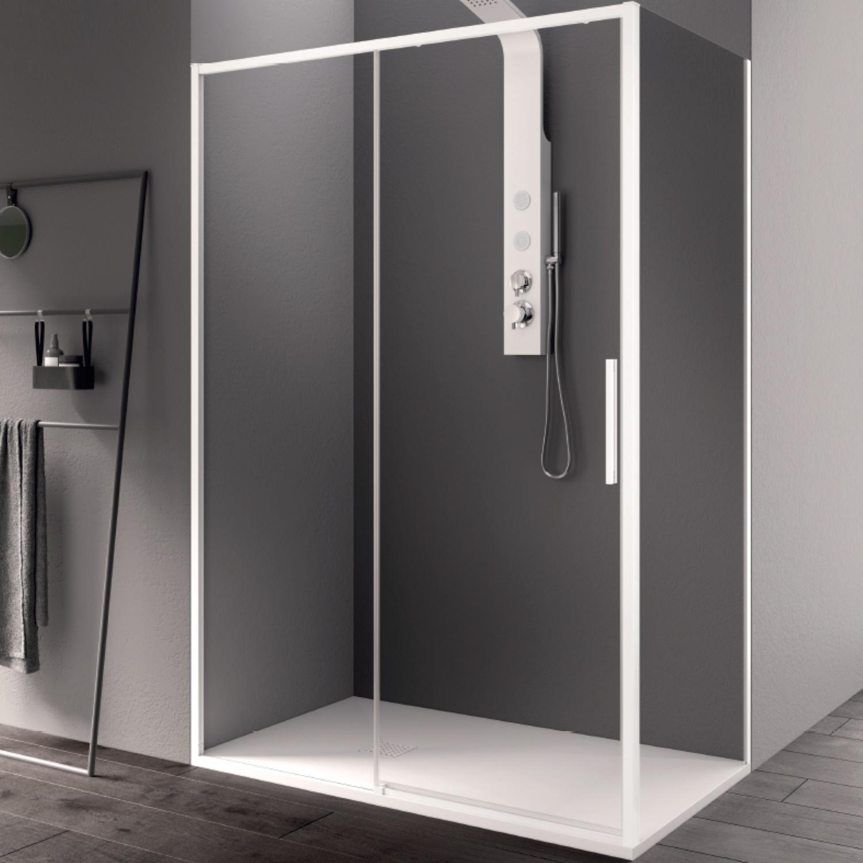 Productafbeelding van Douchecabine Lacus Torcello Schuifdeur met Zijwand 130x200 cm 6 mm Helder Glas Wit Profiel