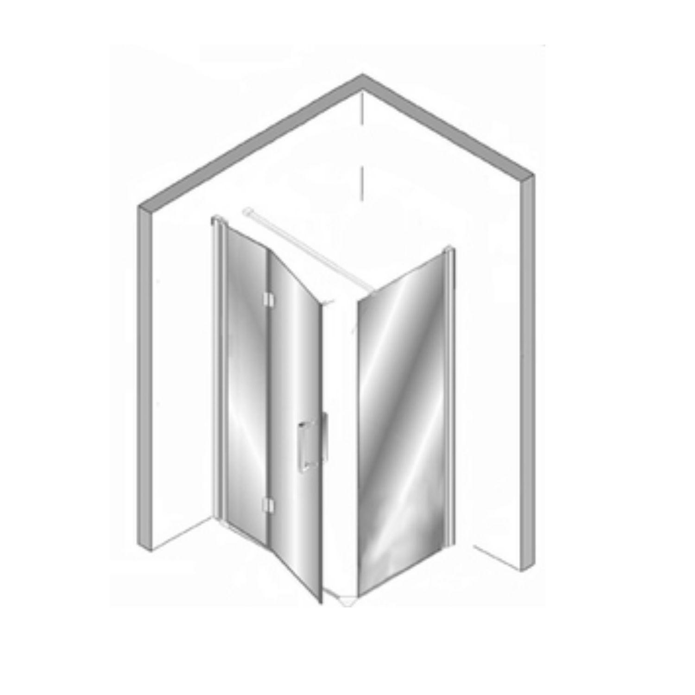 Productafbeelding van Douchecabine Plieger Panorama 6mm 100x90x200cm (Douchewand en Vouwdeur) Chroom