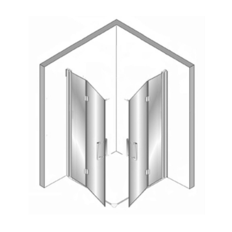 Douchecabine Plieger Panorama Vouwdeuren 6mm 80x80x200cm Chroom