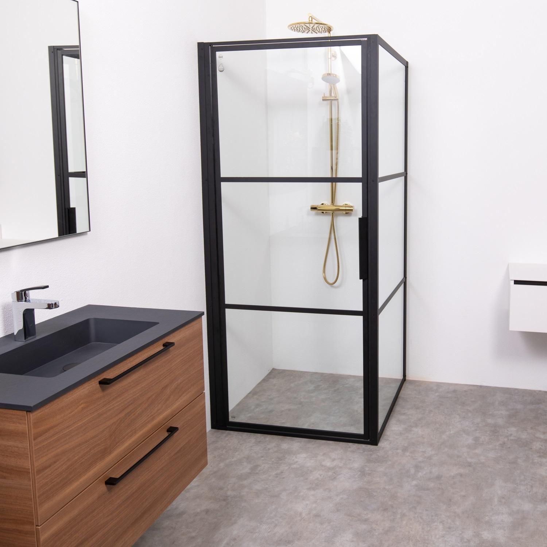 Douchecabine Riho Grid met Klapdeur 100x90 cm 6mm Helderglas Zwarte Profielen