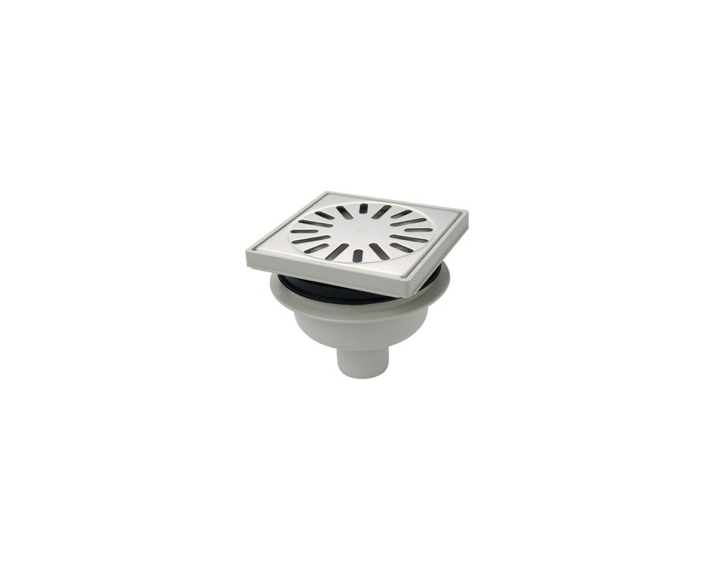 AQUABERG kunststof vloerput 15x15cm.7,8-9,3cm.onderaansl. (4015)