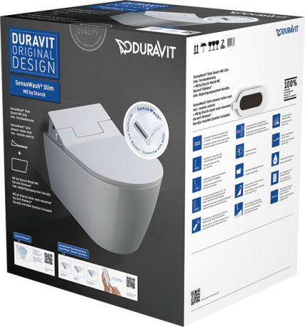 Productafbeelding van Duravit Douche WC SensoWash Slim ME By Starck Met Closetzitting 37.3x57x10.6 cm Keramiek En Duroplast Wit