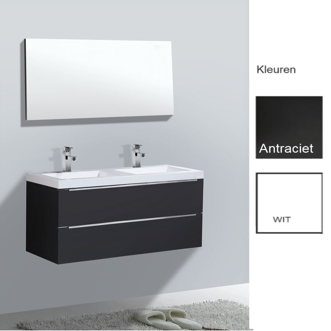 Badkamermeubels Wastafelonderkast kopen? Badkamermeubelset Sanilux Senza 120x47x50 cm (in twee kleuren leverbaar) met korting