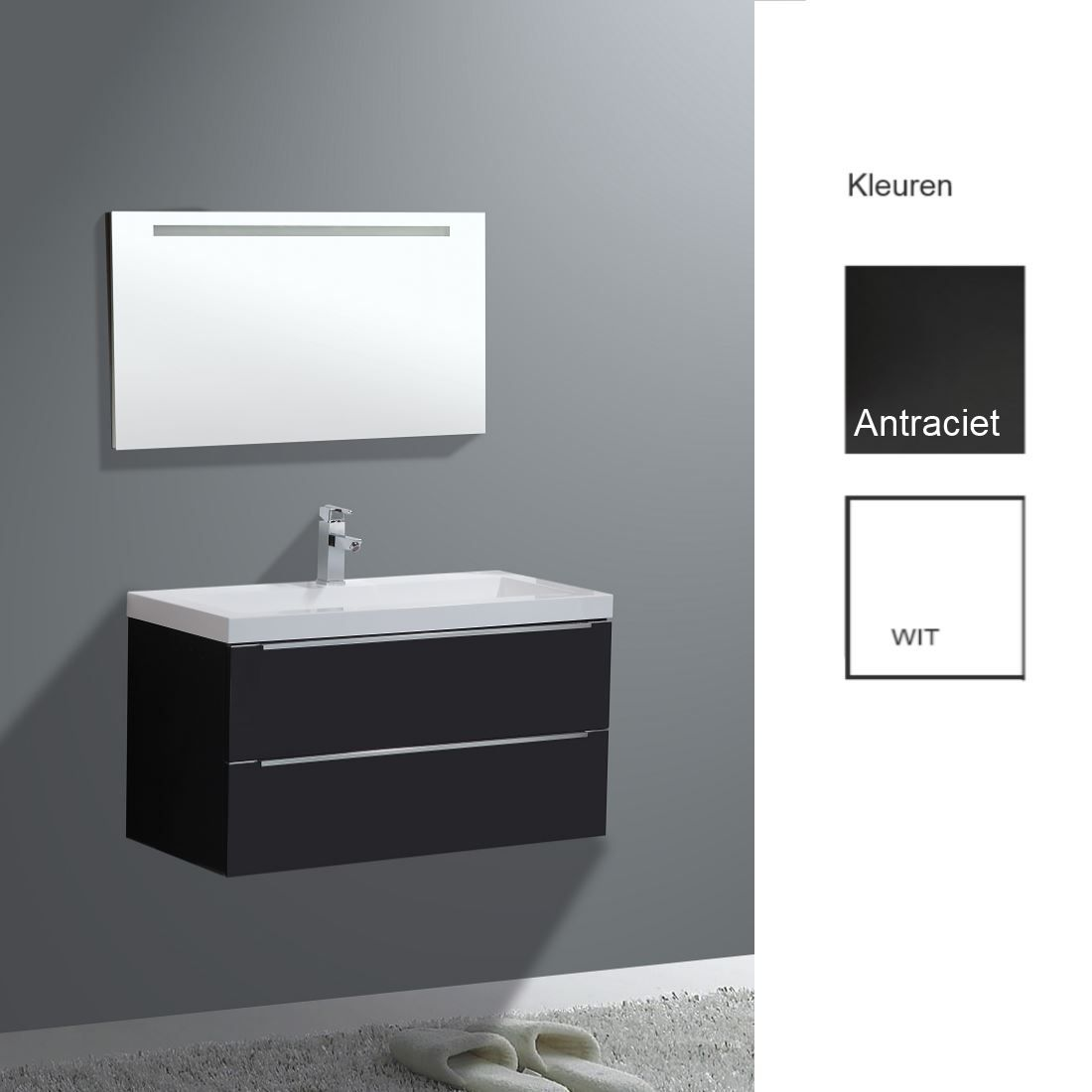 Badkamermeubels Wastafelonderkast kopen? Badkamermeubelset Sanilux Senza 100x47x50 cm (in twee kleuren leverbaar) met korting