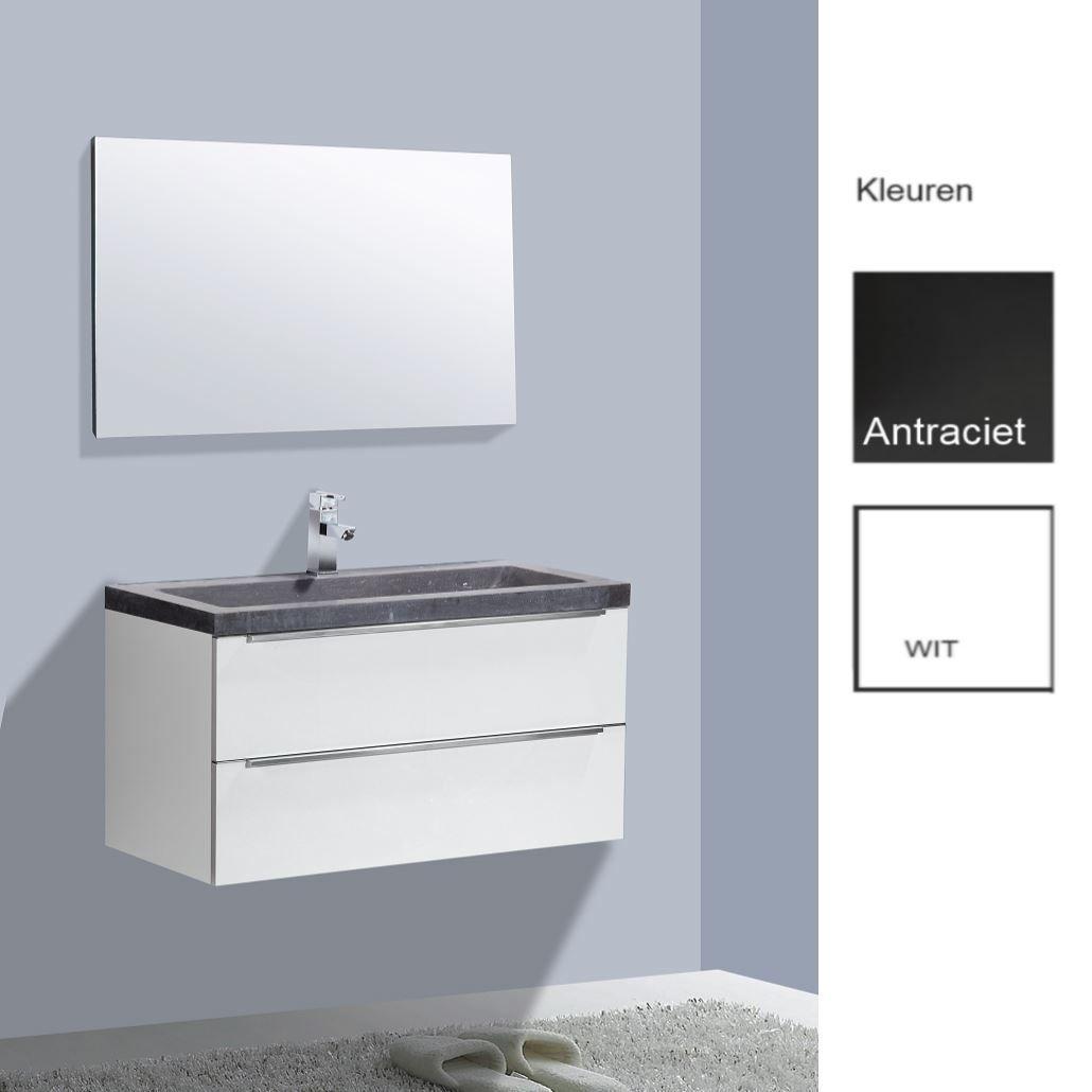 Badkamermeubels Badmeubels steen kopen? Badkamermeubelset Sanilux Senza Stone 100x47x50 cm (in twee kleuren leverbaar) met korting